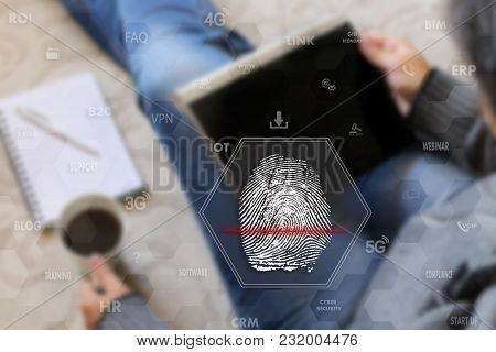 Fingerprint Scanning.identify Fingerprint On The Touch Screen With A Blur The Girl With The Gadget,