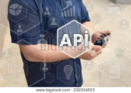 Application Programming Interface. Api On The Touch Screen With A Blur Background Of The Businessman