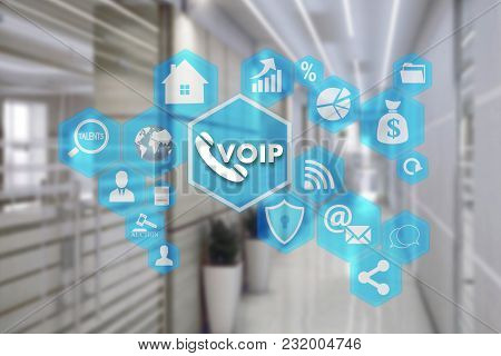 Voip On The Touch Screen With A Blur Background Of The Office.the Concept Of Voice Over Internet Pro