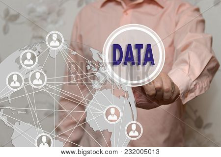 An Elderly Businessman Chooses The Data Button On The Touch Screen With A Blur Futuristic Background