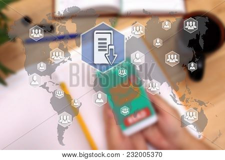 Document Management System. Dsm On The Touch Screen To The Network, On Office Blur Background.concep