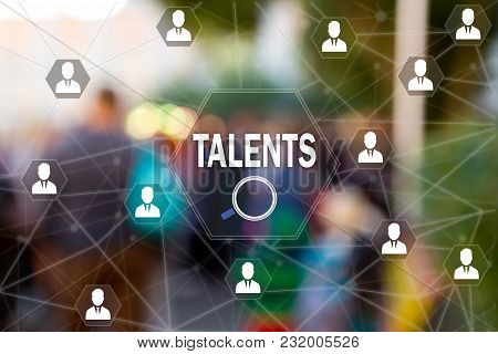 Search Talented Employees, Human Resources On The Touch Screen To The Network, On People Blur Backgr