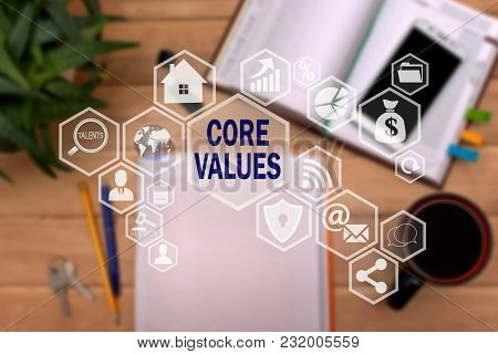 Core Values On The Touch Screen To The Network, On Office Blur Background.concept Of Core Values