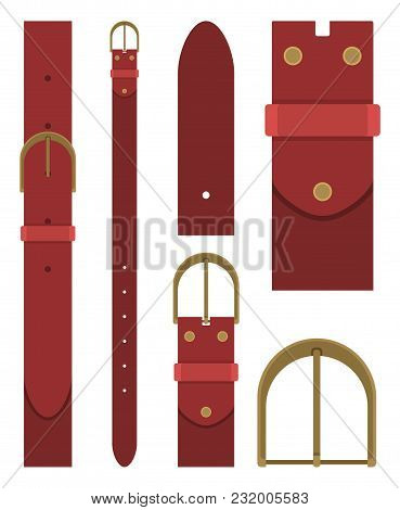 Burgundy Belt With Buckle Isolated On White Background. Element Of Clothing Design. Belt Trouser In