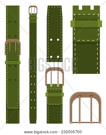 Green Belt With Buckle Isolated On White Background. Element Of Clothing Design. Belt Trouser In Fla