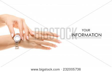 The Watch On A Female Hand Pattern On A White Background Isolation