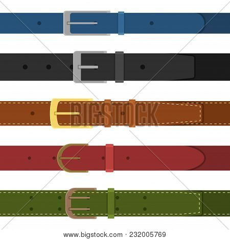 Set Of Different Colored Buttoned To Buckle Belts Isolated On White Background. Element Of Clothing