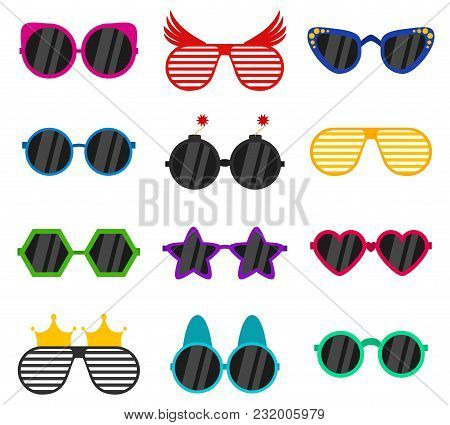 Vector Party Sunglasses Or Eyeglasses Set In Funny Shape. Accessories For Hipsters Fashion Optical S