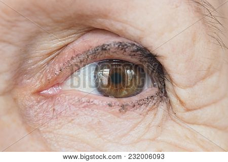 The Eyes Of An Old Woman. Glance An Elderly Lady. Wrinkled Skin Granny Close.