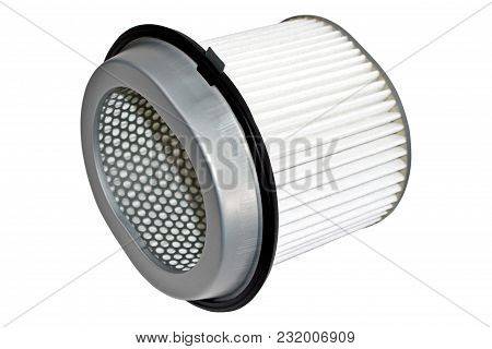 Spare Parts For The Car.air Filter Isolated On White Background.