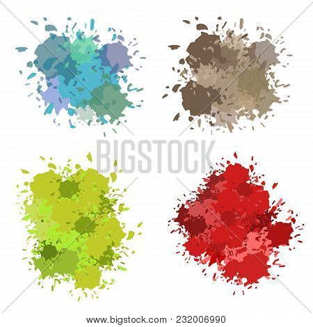 Colored Ink Or Paint Paint Splashes Vector. Paint Splash Or Splat, Splattered Ink, Dirty Blots Artis
