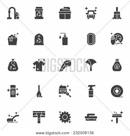Cleaning Vector Icons Set, Modern Solid Symbol Collection, Filled Style Pictogram Pack. Signs, Logo
