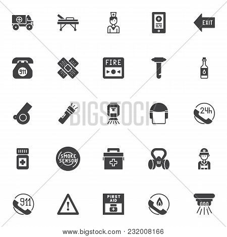 Emergencies Vector Icons Set, Modern Solid Symbol Collection, Filled Style Pictogram Pack. Signs, Lo