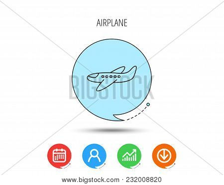 Airplane Icon. Aircraft Travel Sign. Flight Transport Symbol. Calendar, User And Business Chart, Dow