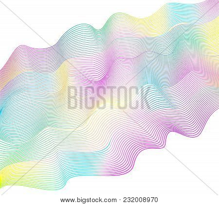 Multicolored Waving Flowing Ribbon On White Background. Vector Abstract Wavy Lines. Line Art Modern