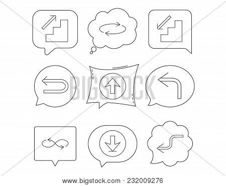 Arrows Icons. Download, Repeat And Shuffle Linear Signs. Upload, Back Arrow Flat Line Icons. Linear