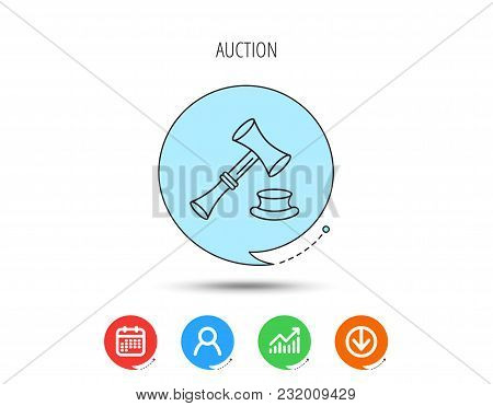 Auction Hammer Icon. Justice And Law Sign. Calendar, User And Business Chart, Download Arrow Icons.