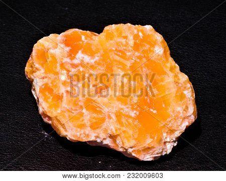 Halite Orange Crystal Gem Stone Black Background Specimen