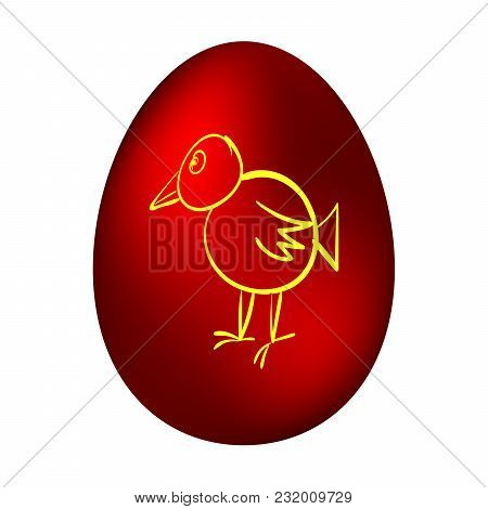 Easter Egg With A Picture Of A Chicken On A White Background. Vector Illustration