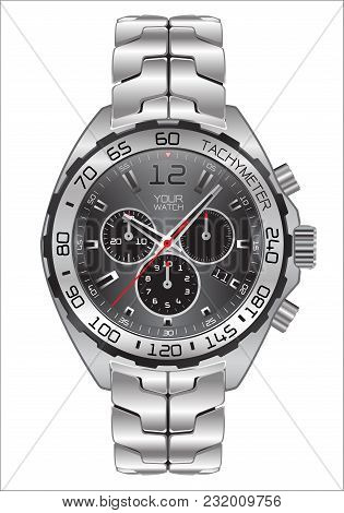 Realistic Watch Clock Chronograph Dark Gray Dial Design For Men Fashion On White Background Vector I