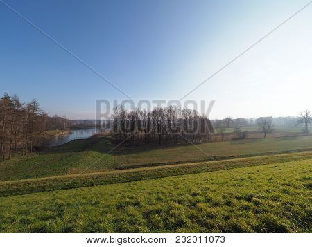 Countryside Landscapes Of Green Grassy Land Next To Artificial Goczalkowice Reservoir In Poland With