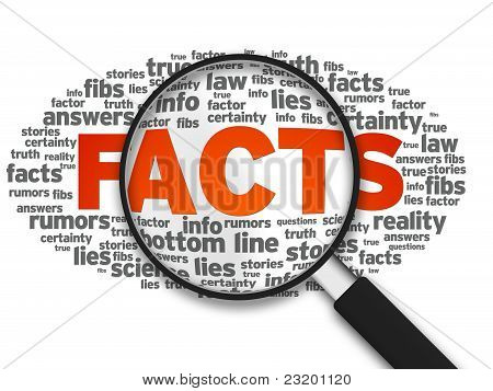 Magnified illustration with the word Facts on white background. poster