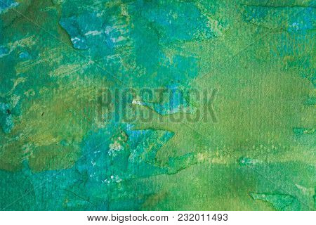 Colorful Hand Painted Watercolor Background. Yellow, Green And Blue Watercolor Brush Strokes. Abstra