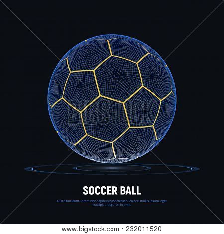 Digital Hologram Of Soccer Ball With Hud Elements. Futuristic Football. Wireframe Mesh Of Soccer Bal
