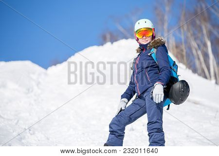 Photo Of Female Athlete In Helmet In Park During Winter