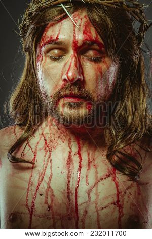 symbol, representation of the Calvary of Jesus Christ on the cross. Holy Week in Spain. man with crown of thorns
