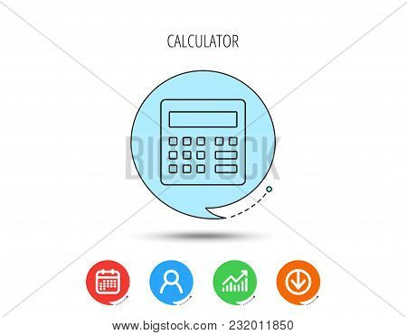 Calculator Icon. Accounting Sign. Balance Calculation Symbol. Calendar, User And Business Chart, Dow