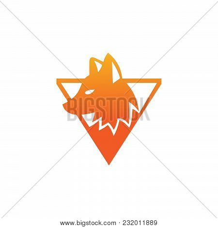 Fox Head Logo Vector, Triangle Fox, Flat Vector Fox Logo Isolated On White Background, Flat And Colo