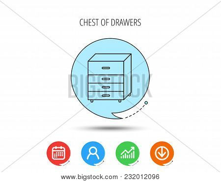 Chest Of Drawers Icon. Interior Commode Sign. Calendar, User And Business Chart, Download Arrow Icon