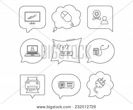 Printer, Wi-fi Router And Projector Icons. Monitor, Video Chat And Webinar Linear Signs. Electric Pl
