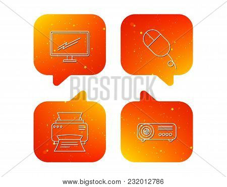 Monitor, Printer And Projector Icons. Pc Mouse Linear Sign. Orange Speech Bubbles With Icons Set. So