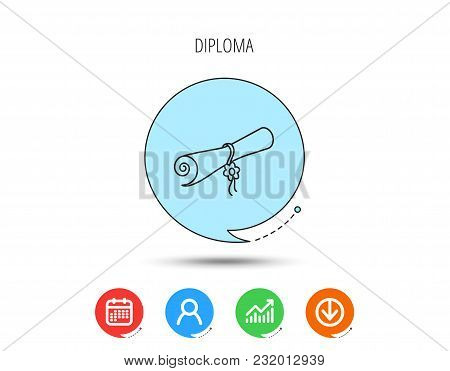 Diploma Icon. Graduation Document Sign. Scroll Symbol. Calendar, User And Business Chart, Download A