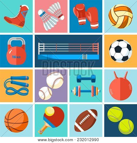Banner Of Sport Balls And Gaming Equipment. Background For Promotional Posters, Advertising Flyers,