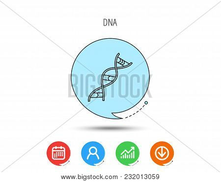 Dna Icon. Genetic Evolution Structure Sign. Biology Science Symbol. Calendar, User And Business Char