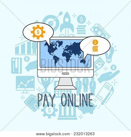 Pay Online Illustration. Flat Line Design Style Concept For E-commerce, M-commerce, Online Shopping,