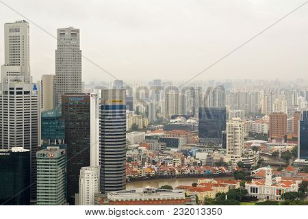 Singapore- January, 14, 2018: Singapore Skyline, Top View From Marina Bay. Business Building And Fin