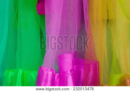 Color Stripes Of Fabric Tulle.color Stripes Of Fabric Tulle.