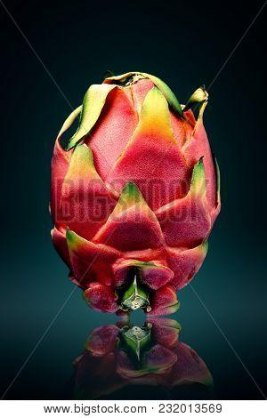 Dragon fruit ( pitaya ) still life  with reflection on surface