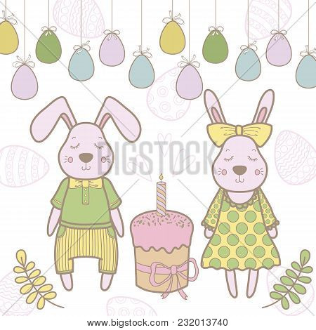 Easter Rabbit Family With Easter Egg. Vector Illustration Isolated.