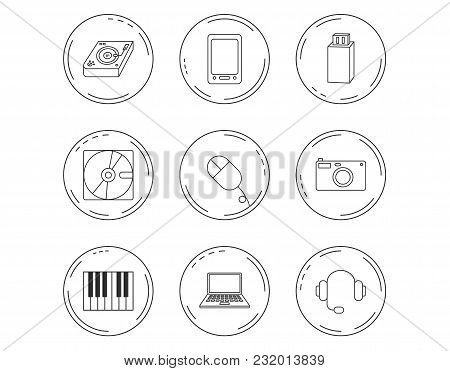 Tablet Pc, Usb Flash And Notebook Laptop Icons. Club Music, Hard Disk And Photo Camera Linear Signs.