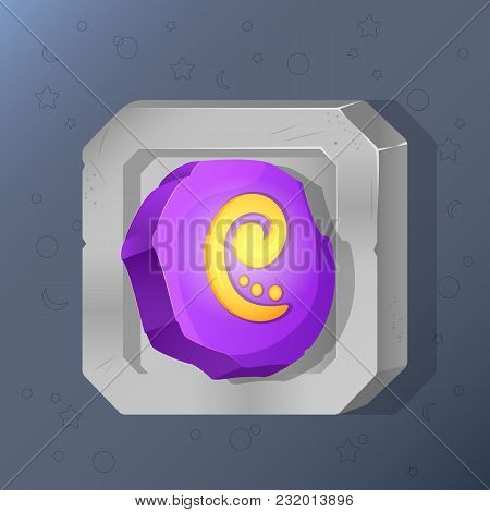Game Icon Of Runic Stone In Cartoon Style. Bright Design For App User Interface. Magic Stone Of Retu