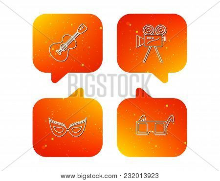 Guitar Music, Video Camera And Theatre Mask Icons. 3d Glasses Linear Sign. Orange Speech Bubbles Wit