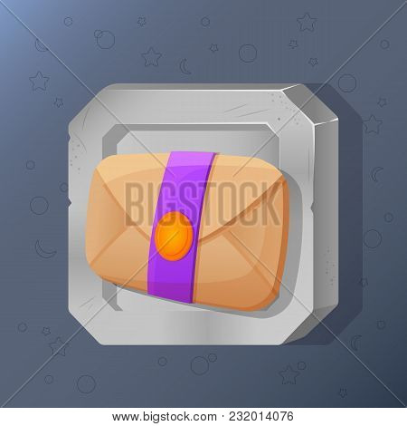 Game Icon Of Mail In Cartoon Style. Bright Design For App User Interface. Letter For Game Informatio