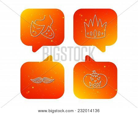 Crown, Pumpkin And Theater Masks Icons. Mustache Linear Sign. Orange Speech Bubbles With Icons Set.