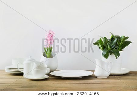 White Tableware For Serving. Crockery,dish, Utensils And Other Different White Stuff. Kitchen Still