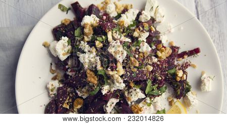 Beetroot Salad With Cottage Cheese And Walnuts. European Cuisine. Organic Food. Vegetarian Appetizer